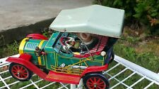 VNTG.1910 JALOPY MYSTERY ACTION TIN TOY RETRO CAR BATTERY OPERATED 1960's JAPAN