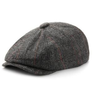 Newsboy Hats For Men Wool Octagonal Cap Plaid British Vintage Painter Beret Hat