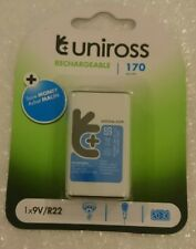 Uniross PP3 6LR61 9V 170 mAh Rechargeable Battery MA40 R22 square FASTP&P