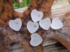 Vintage Swarovski White Satin Camphor Glass Hearts w/ Crystal 1/2 drill Pendant