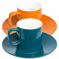 Set of 2 Mini 3oz Espresso Coffee Cups & Saucers Bright Colour Fine Stoneware