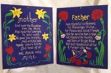 Vintage Mother/Father Poem Verse Art Nouveau BLOCK Print Press Floral on Blue