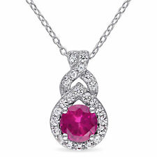 Amour Sterling Silver Created Ruby and Created White Sapphire Halo Drop Necklace