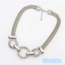 Women Lady Elegant Silver Choker Bib Statement Chunky Necklace Bridal Jewelry
