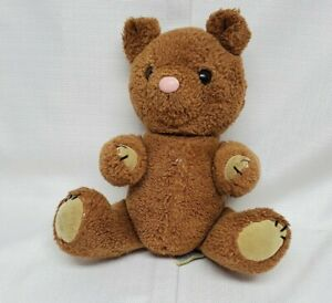 """Vtg Dakin Jointed Wind Up Musical Teddy Bear Plush Toy 11.5"""" WORKS Stain 1981"""