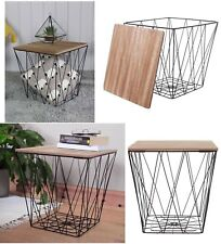 Wood Black Metal Wire Square Basket Side Table Home Storage Living Room Hallway