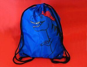 Kids & Co Blue Dinosaur Drawstring Swimming, School, PE Bag ~ Pre-owned ~ A1
