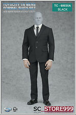 "TOYSCITY 1/6 Mens Formal Suit Set Cloth Model For 12"" Doll 62030 A Black"