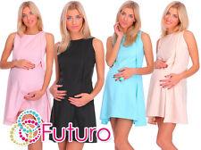 Ladies Maternity Cocktail Mini Shift Dress Sleeveless Crew Neck Sizes 8-18 FA427