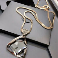 Geometry Crystal Rhinestone Pendant Necklace Sweater Long Chain Jewelry HF