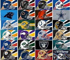 "Licensed NFL Football LARGE FLAG BANNER 3'X5' -Indoor/Outdoor- 36""X60"""