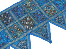 Blue Handmade Window Topper Valance - Ethnic Beaded Textile Doorway Toran 60""