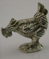 ENGLISH STERLING SILVER MINIATURE HEN CHICKEN ROOSTER ANIMAL BIRD LONDON 2001