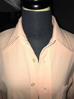 VINTAGE 1970's Van Heusen Salmon Splendor Knit Long Sleeve Shirt  16/35