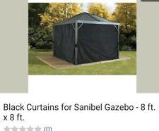 Black Curtains for Sanibel Gazebo - 8 ft. x 8 ft.