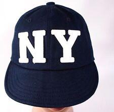 New York Cycling Hat Cap Navy White Letterman Adjustable Soft Brim Streetwear