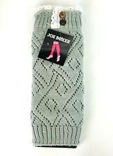 Winter Warm Knit High Knee Leg Warmers Crochet Boot Sock Slouch Gray w/ Lace NWT