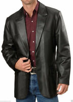 Mens Genuine Lambskin Handcraft Leather Blazer Coat Soft TWO BUTTON Black Jacket