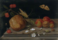 "oil painting on canvas ""Still life with fruit, a grasshopper and a butterfly"""