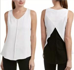 CAbi style #3076 domino split mesh back sleeveless blouse career size S Small