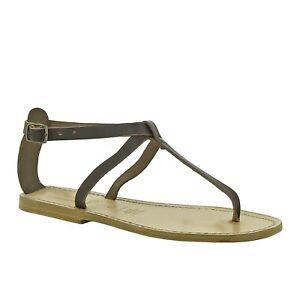 Italian women's T-strap open handmade sandals shoes dark brown genuine leather