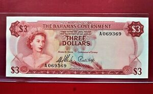 1965 Bahamas 3 dollars p-19a @ aUNC