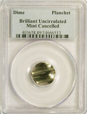DIME 10C BLANK UNCIRCULATED MINT CANCELLED COIN PCGS HOLDER