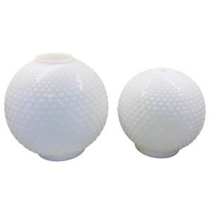 2 Vintage Hobnail Milk Glass Lamp Shades White Globe Shape Large & Small