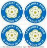 """YORKSHIRE Born White Rose of York County Bumper, Decals - Stickers 2"""" (50mm) x4"""