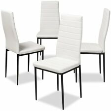 Set of 4 Baxton Studio Armand White Faux Leather Dining Chairs
