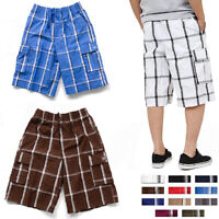 Plaid Cargo Shorts Pants Men Checker Multi Pockets Summer Casual Lightweight Lot