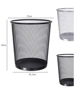 Metall Korb Papierkorb Mülleimer Bürokorb Abfallkorb Silber Schwarz 18,5- 26 cm