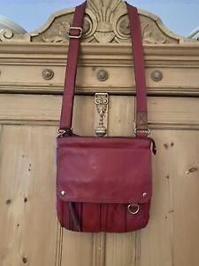 FOSSIL Explorer Red Leather Crossbody Shoulder Bag