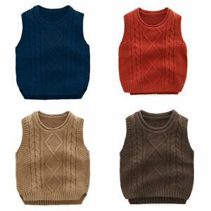 Toddler Kids Boys Girls Cotton Knitted Vest Sweaters Tank Tops Waistcoat Jumpers