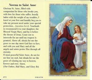 Prayer Card Novena To Saint Anne No- Laminated AF772