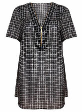 Polyester V Neck Checked Plus Size Tops & Shirts for Women