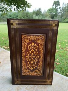 """Decorative Faux Fake 9.5"""" Leather Book Storage Box Gold Hiding Safe Magnetic"""