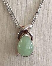 VTG Sterling Silver FAS Light Green Stone Triple Strand 925 Necklace Pendant