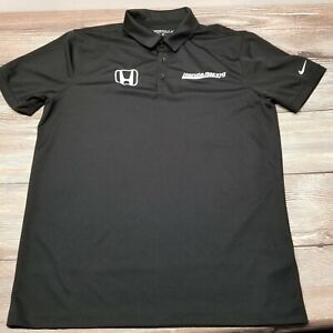 NIKE Golf Mens Size Medium Black Honda Indycar Racing Shirt