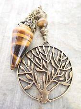 Tiger Eye Dowsing Scrying Pendulum BIG Bronze Tree of Life Charm