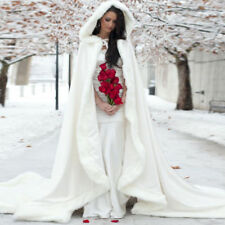 Ivory Long Winter Bridal Cape Faux fur Trim Princess Hooded Wedding Cloak