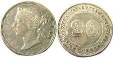 elf Straits Settlements 20 Cents 1882 H  Victoria