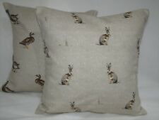 "2 x Country cottage Cushion covers,Fryetts ""Hartley Hare"" & ""Mallard"" ,16""x 16"""