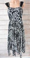 JOSEPH RIBKOFF Dress Sz (UK8) 10 Medium black white Fit Flare Shift Dress