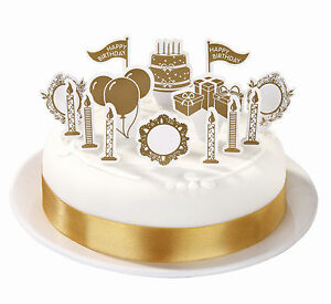 Golden Wedding Cake Cup Cake topper Decorations Birthday Gold cake pop tops