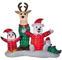CHRISTMAS SANTA PAJAMAS REINDEER FRIENDS INFLATABLE AIRBLOWN YARD DECORATION 6.5