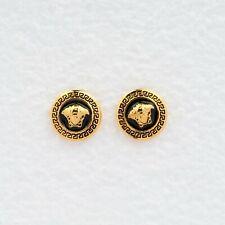 Vintage Versace Medusa Head Clip Earrings in Matte Gold