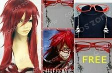 Anime Black Butler Grell Sutcliff Cosplay Deep red wig +hairnet+glass AE222