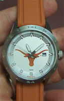 Texas Longhorns Fossil Watch Mens Three Hand Date Silicone Band NEW