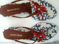 RAMON TENZA-CORAL RED BLUE WHITE SANDALS SIZE 6M LEATHER SOLE-SPAIN-NEW IN BOX